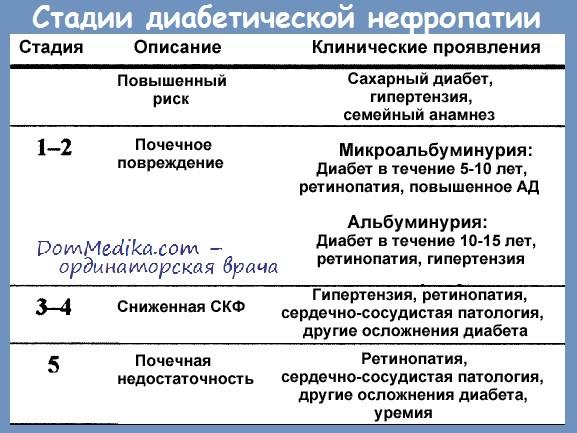 Стадии диабетической нефропатии