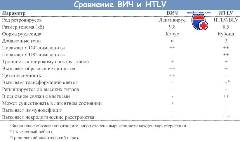 Сравнение ВИЧ и HTLV